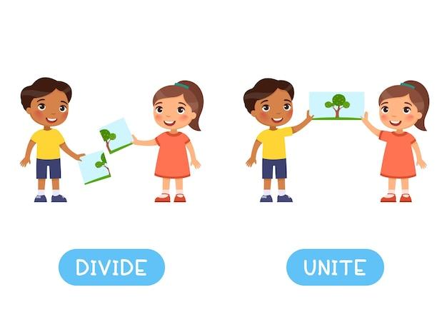 Dividir y unir antónimos tarjeta de palabras concepto de opuestos flashcard para el aprendizaje del idioma inglés