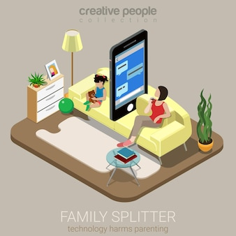 Divisor familiar isométrico plano crianza social