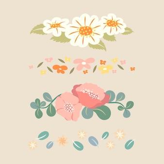 Divisor de flores, conjunto de ilustración de vector de etiqueta engomada de diseño plano pastel