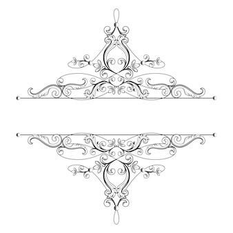 Divisor o marco en estilo retro caligráfico aislado