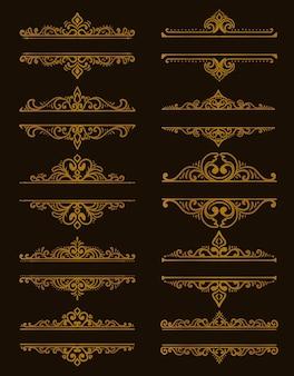 Divisor ornamental dibujado a mano color dorado.