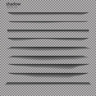 Divisor de página con sombras transparentes aisladas. juego de separación de páginas. ilustración realista de sombra transparente.