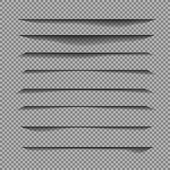 Divisor de página con sombras transparentes aisladas.
