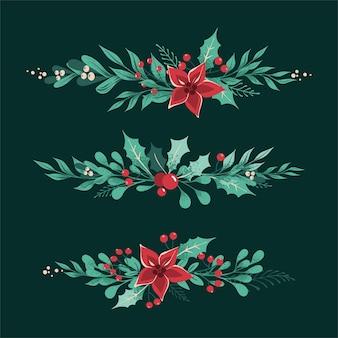 Divisores y bordes decorativos navideños con hojas, bayas, acebo, muérdago blanco, flor de pascua.