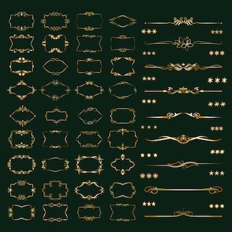 Divisores caligráficos, marcos de diferentes formas.