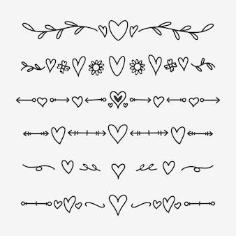 Divisores del corazón dibujados a mano