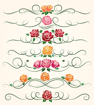 Divisores decorativos de flor color de rosa