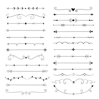 Divisores dibujados a mano. elementos de diseño de línea bordes vintage. decoración caligráfica adornada. divisor retro, conjunto de vectores separador