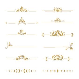 Divisores elegantes de damasco. conjunto de elementos de diseño de separador de flores boutique vintage, adornos florales dorados y marcos de libros de bodas