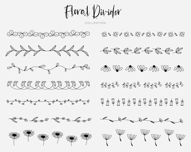 Divisores florales dibujados a mano