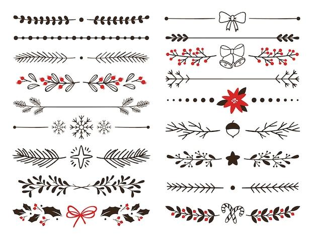 Divisores de invierno ornamentales dibujados a mano. bordes de copos de nieve, decoración navideña y divisores florales adornados