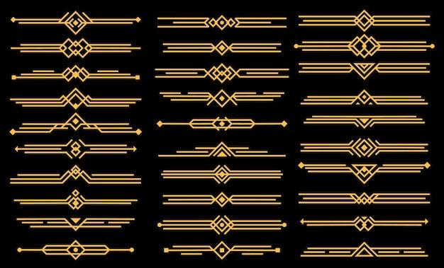 Divisores o encabezados de elementos art deco. estilo victoriano geométrico, elegante diseño vintage, conjunto de iconos