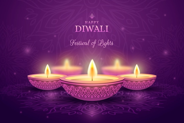 Diwali aligerar velas vista frontal