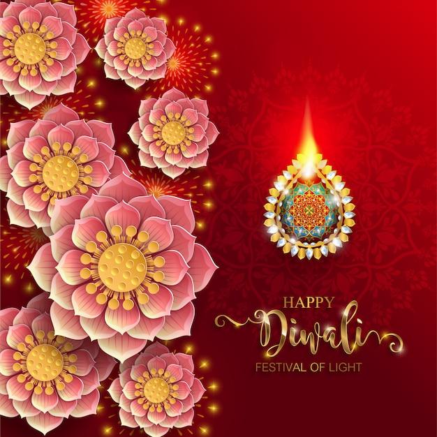 Diwali, deepavali o dipavali, el festival de las luces de la india con diya de oro estampada y cristales sobre papel.