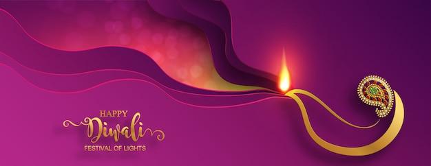 Diwali, deepavali o dipavali, el festival de las luces de la india con diya de oro estampado y cristales sobre papel de color de fondo.