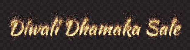 Diwali dhamaka sale banner ancho de texto de partículas de brillo dorado brillante sobre fondo transparente