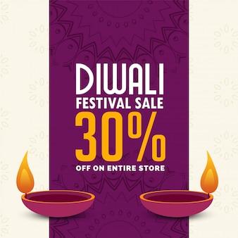 Diwali diseño de cartel de venta con dos diya.