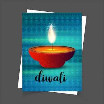 Diwali diseño de fondo azul y tipografía vector