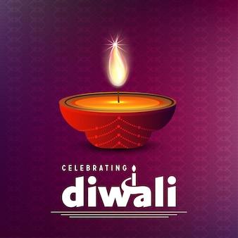 Diwali diseño con fondo morado y tipografía vector