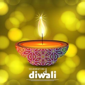 Diwali diseño con fondo verde y tipografía vector