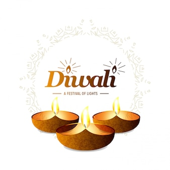 Diwali diseño ligero fondo y tipografía vector