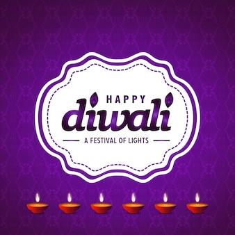 Diwali diseño púrpura fondo y tipografía vector