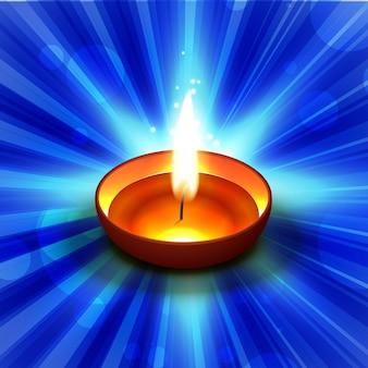 Diwali diya en azul brillante ilustración
