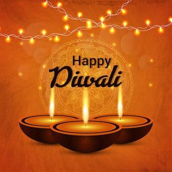 Diwali diya con fondo de vector