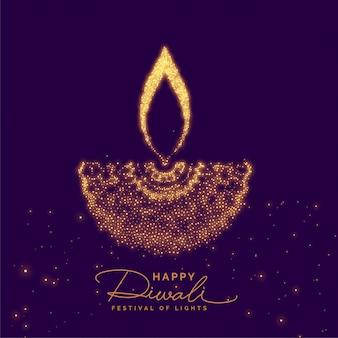 Diwali diya creativo hecho con partícula dorada