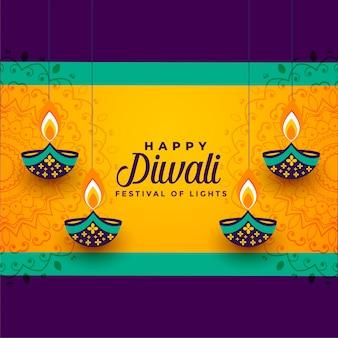 Diwali feliz colgando diya decorativa