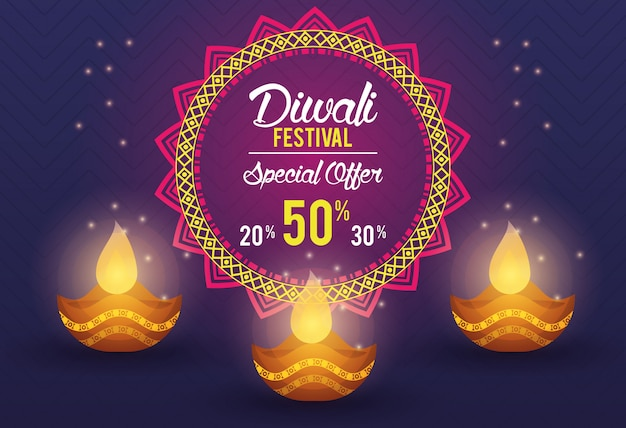 Diwali festival indian offer banner design
