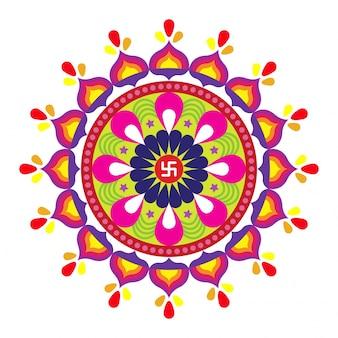Diwali (festival de luces de la india) con el concepto de diseño colorido rangoli floral.
