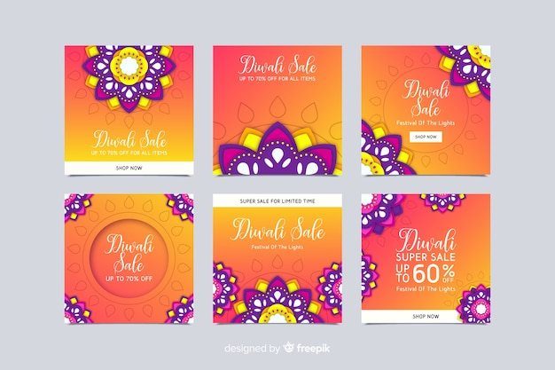 Diwali floral instagram post collection