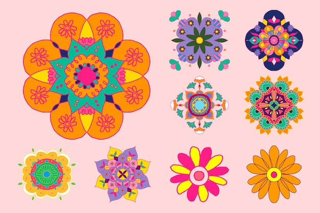 Diwali indian rangoli conjunto de flores