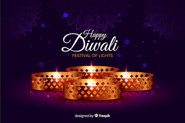 Diwali realista con fondo de luces