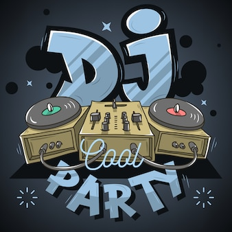 Dj cool party design para póster de evento. mezclador de sonido y gramófono