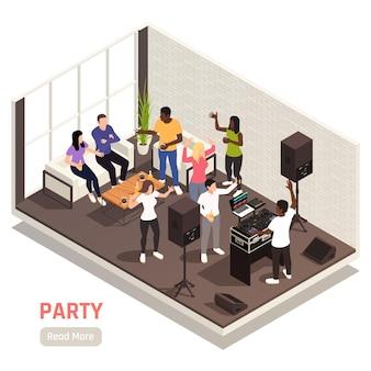 Dj corporativo entretenido composición interior isométrica de la fiesta de formación de equipos con equipo de música hablando de personas bailando