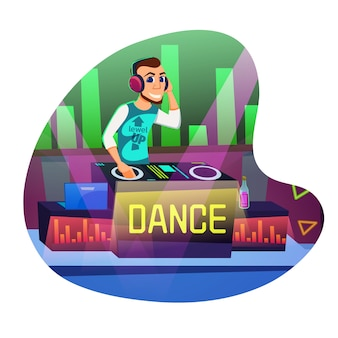 Dj disco dance dibujos animados plana.