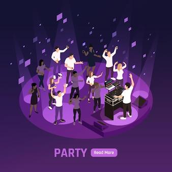 Dj disco escenario láser proyector luces estroboscópicas efectos violeta oscuro fiesta nocturna banner composición isométrica