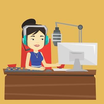 Dj femenino trabajando en la ilustración de radio