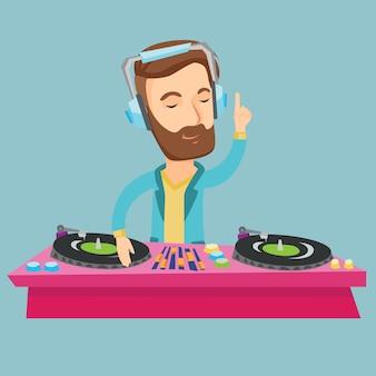 Dj mezclando música en tocadiscos ilustración vectorial.