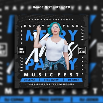 Dj music event xmas social media post instagram banner template design