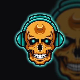Dj skull head logo esport