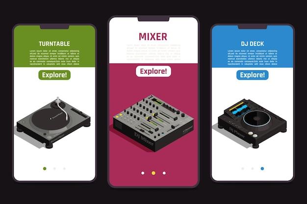 Dj tools en línea 3 pantallas isométricas de teléfonos inteligentes móviles configuradas con ilustración de información de equipo de plataforma de mezclador giratorio