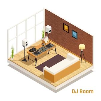 Dj en la vista interior isométrica de la sala de estar con altavoces, reproductores de discos de vinilo, tocadiscos, mezclador de audio, ilustración