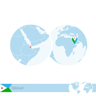 Djibouti en globo terráqueo con bandera y mapa regional de djibouti. ilustración de vector.