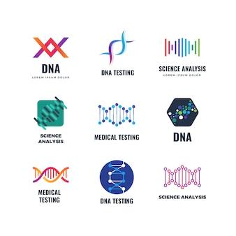 Dna code biotech science genetics logo. moléculas de hélice biotecnología emblemas.
