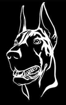 Doberman retrato con un collar rojo. ilustración vectorial