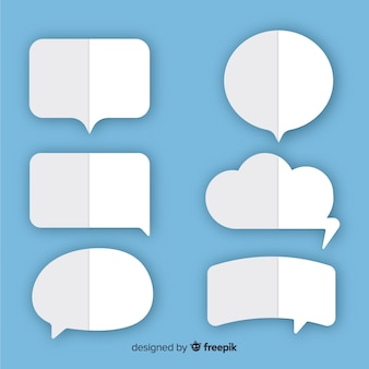 Doblado como burbujas de discurso de estilo de papel plano