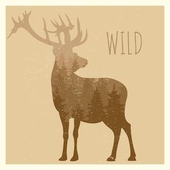Doble exposición ciervos con panorama forestal